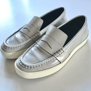 RAG & BONE //Colby light grey leather loafers 38.5